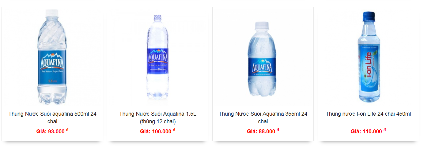 Nước uống tinh khiết chai 350ml, 500ml, 1.5l tại quận Bình Thạnh